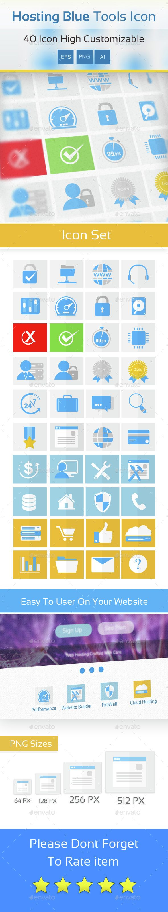 40 Vector Icons for Hosting. This is a vector illustration. You can be scaled this image to any size without loss of resolution. Shadowless transparent PNG included. AI CS4 , EPS8, PNG