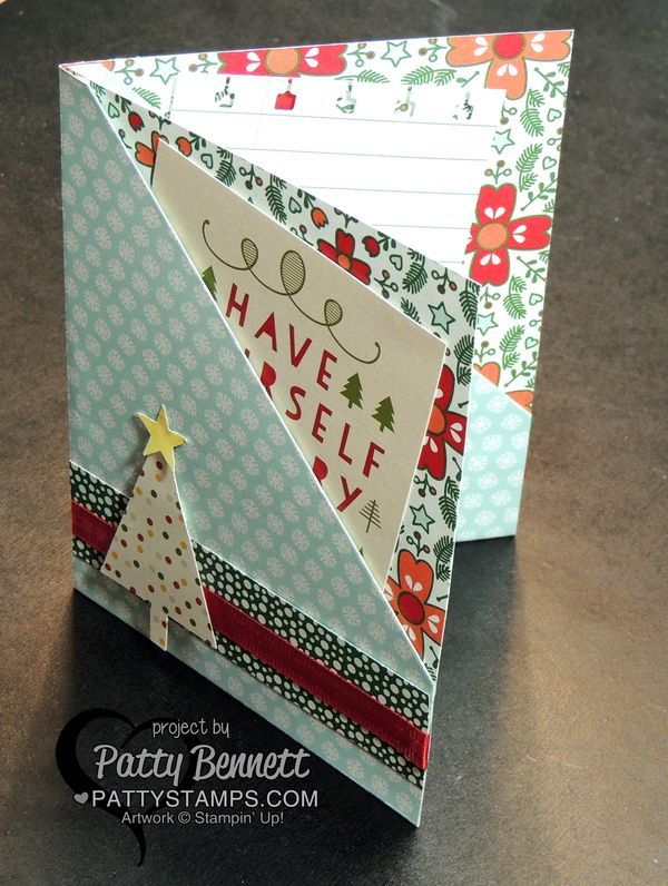 Stampin' Up! Quick and Easy Double Pocket card featuring Nordic Noel designer paper by Patty Bennett