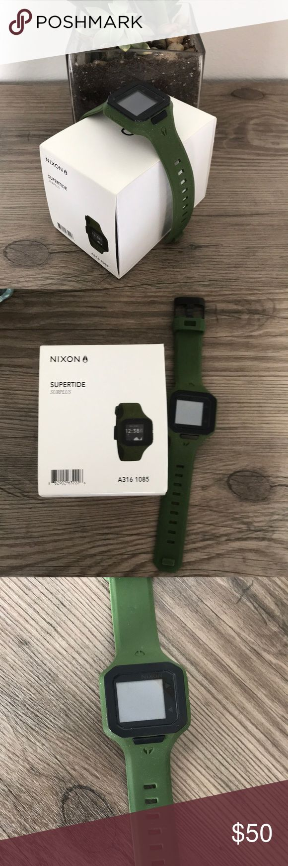 Nixon Supertide army green digital sports watch This Nixon watch is perfect for gifting! This digital watch has an army green silicone band, and can track tides, sunrise/sunset and more! Surfs up! Original packaging included. Watch will require new battery. Nixon Accessories Watches