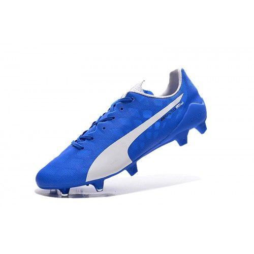 Barato Puma evoSPEED 1.4 SL FG Azul Blanco Botas De Futbol