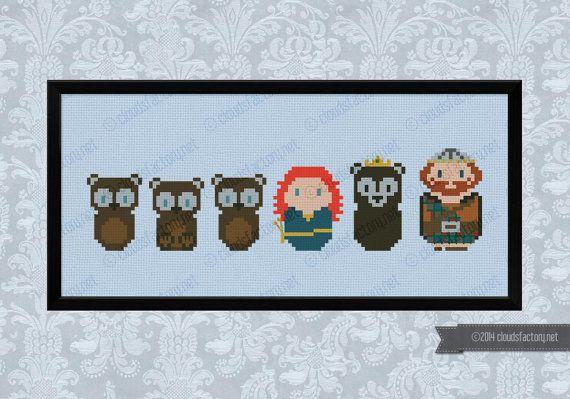 Brave princess parody bears version  Cross stitch par cloudsfactory