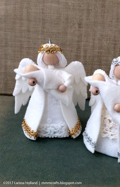mmmcrafts: handmade Christmas gifts 2016 - angel ornaments for Lesley and Paula