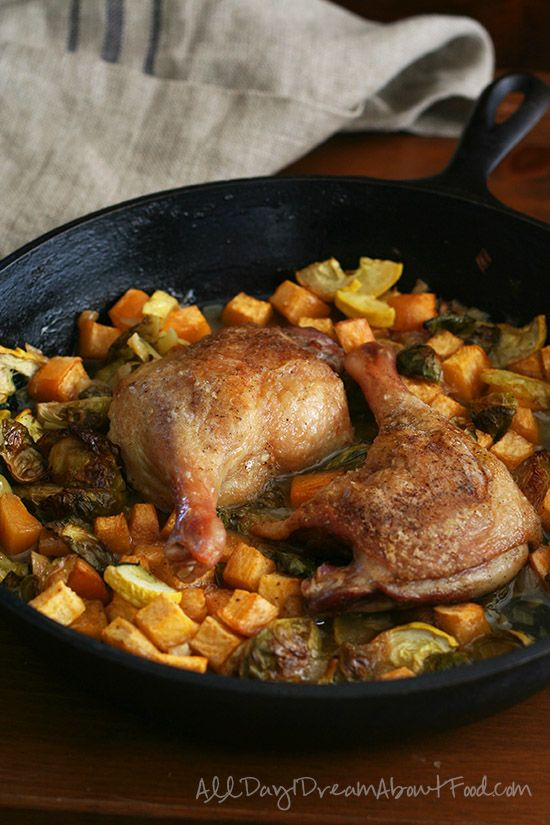 """Paleo Braised Duck Legs with Rutabaga and Brussels Sprouts - this """"fancy"""" meal is so ridiculously simple and so amazingly flavourful."""