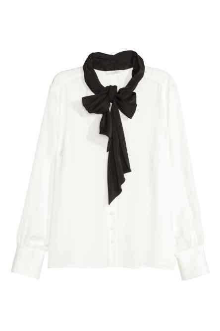 Tie-neck satin blouse