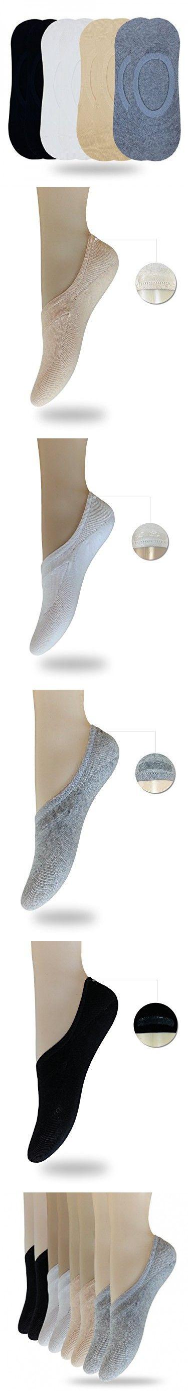 Eedor Women's 8 Pack Thin Casual No Show Socks Non Slip Flat Boat Line