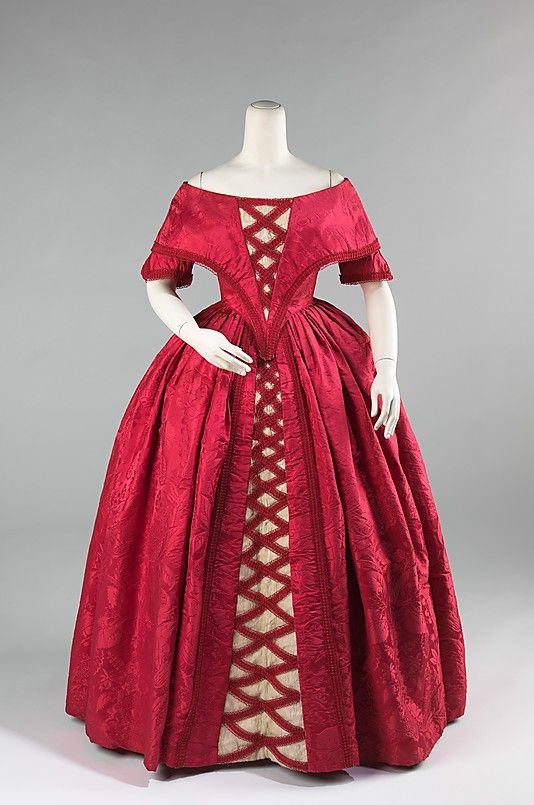 1842 ball gown: Met Museums, Ball Gowns, 1840, Princesses Style, Vintage Fashion, Costume, The Dresses, Silk Cotton, Metropolitan Museums