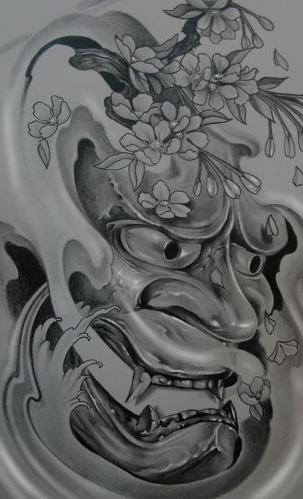 oni mask tattoo   Ch Hannya Oni Tattoo Más