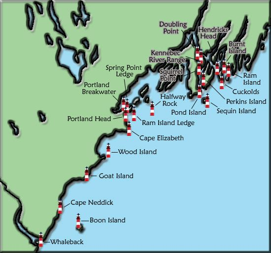 Map Of Lighthouses In Maine | lighthouse name or icon for more information on that lighthouse