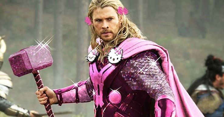 Photoshop Experts Hello Kitty- Masculine Superheroes With Sparkly Pink Costumes