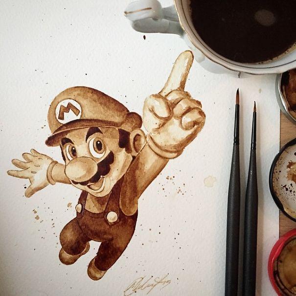 Super Mario Coffee Art