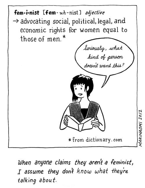 """""""When anyone claims they aren't a feminist, I assume they don't know what they're talking about."""" --The Big Feminist BUT: The Caveats of Gender Politics in Comics   Brain Pickings"""