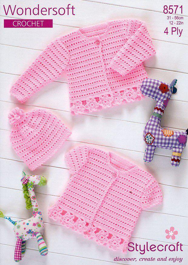 Crochet Cardigans & Hat in Stylecraft Wondersoft 4 ply (8571)