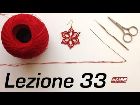 ▶ Chiacchierino Ad Ago - 33˚ Lezione Orecchino Stella Come Fare Bijoux Tutorial Needle Tatting - YouTube
