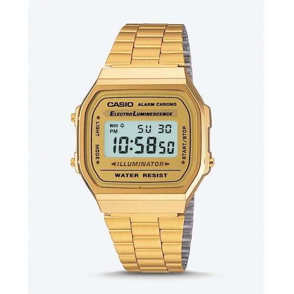 Express Vintage Casio Gold Digital Watch ($65) ❤ liked on Polyvore featuring men's fashion, men's jewelry, men's watches, gold, mens gold watches, mens vintage gold watches, mens watches, mens vintage watches and mens digital watch