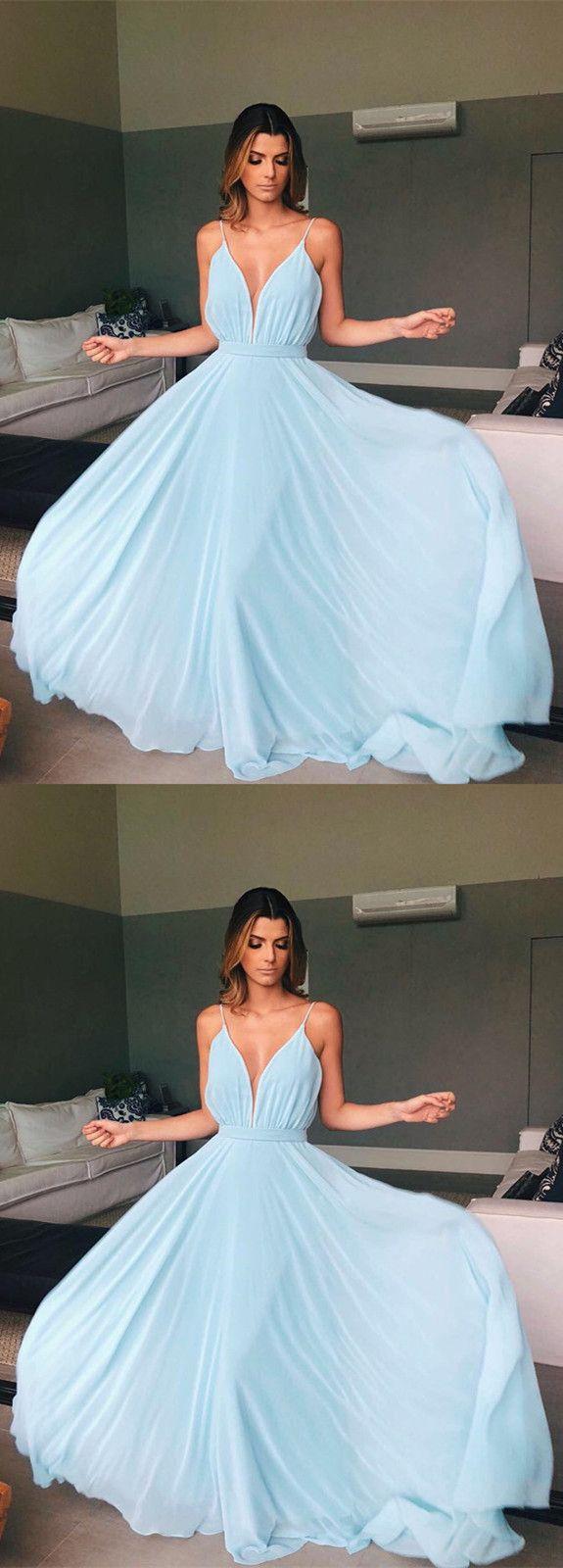 Light Blue Chiffon Bridesmaid Dresses Long V-neck Formal Prom Dresses Open Back