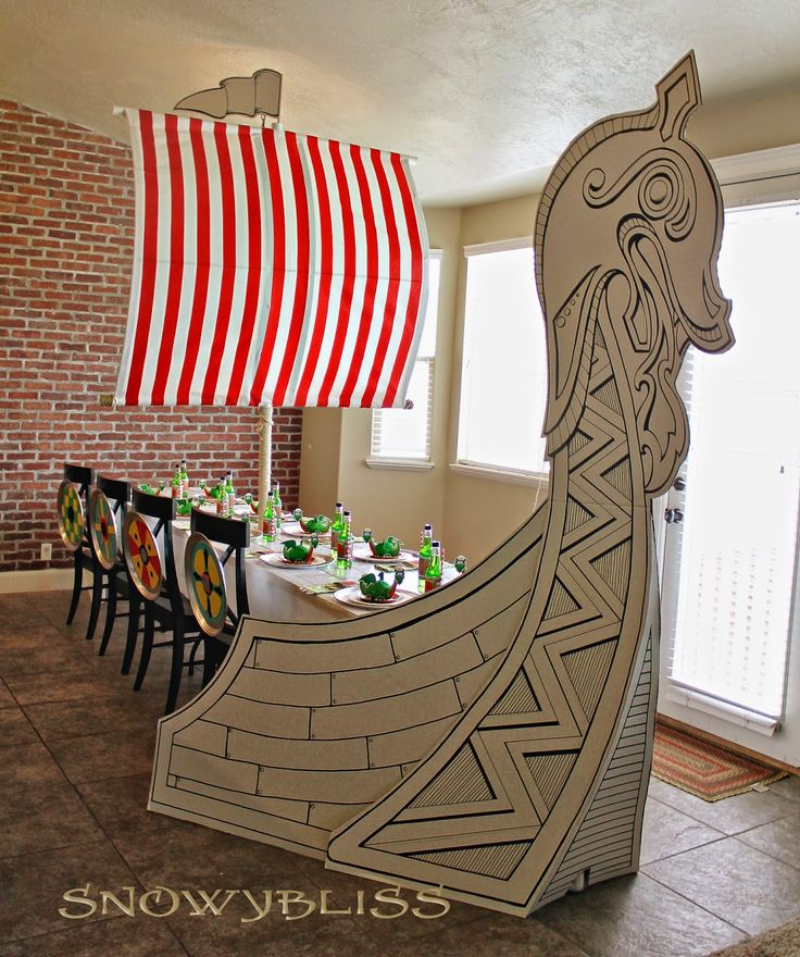 cardboard viking ship   These invites were hand delivered… they are a bit too big for an ...