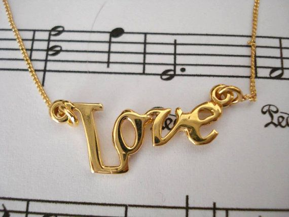 Gold LOVE script necklace Sterling silver 925 love by Poppyg