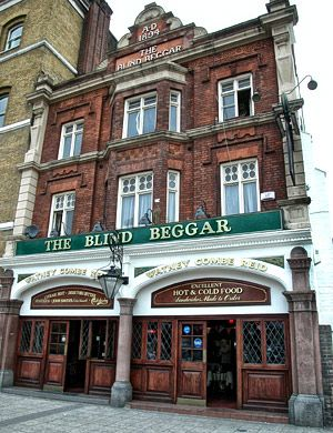 """The Blind Beggar Pub, Whitechapel, London - Henry de Montfort was wounded and lost his sight in the Battle of Evesham in 1265, and was nursed to health by a baroness. He became the """"Blind Beggar of Bednal Green"""" and used to beg at the crossroads. In modern times The Blind Beggar Pub had some famous customers The Kray Brothers and Ronnie Kray murdered George Cornell in the pub in 1966. In 1904 a member of the Blind Beggar gang of pick-pockets, stabbed another man in the eye with an umbrella."""