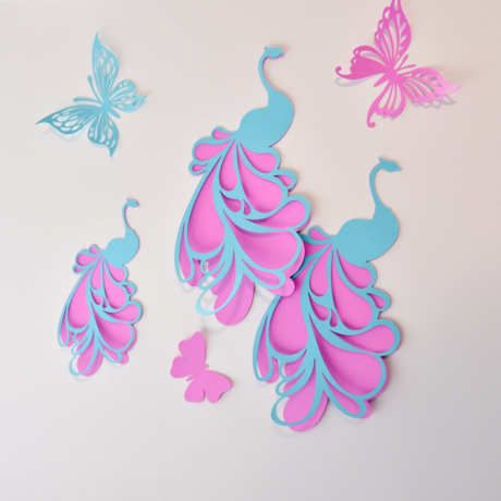 Peacocks Wall Art, Peacock Decoration, Peacock Wall Decor Stickers for Room