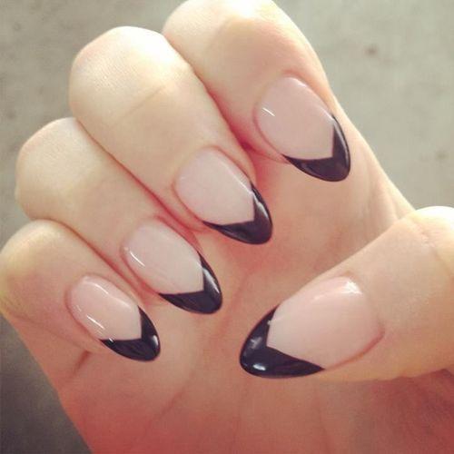 Black Heart Tips Nails images