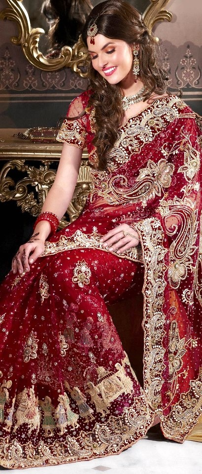 #Red Net #Saree with #Blouse | $1510.72 | Shop Here: http://www.utsavfashion.com/store/sarees-large.aspx?icode=sds1905