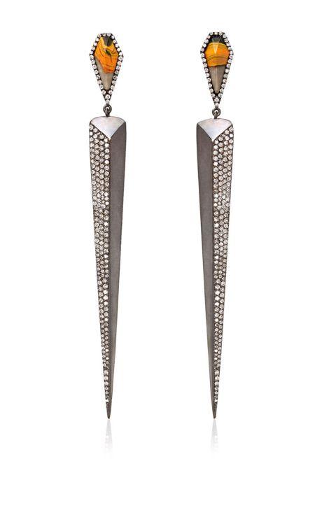 Jasper And White Diamond Earrings by Monique Péan for Preorder on Moda Operandi