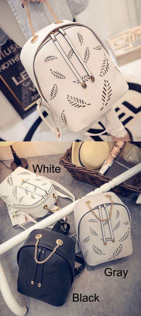 So nice Feather Pattern Backpack Gold Chain School Bag !! #feather #backpack #school #college #bag #lady #rucksack #elegant #fashion
