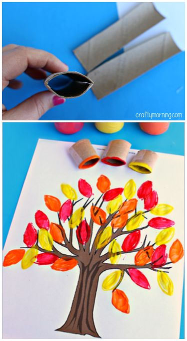 Toilet Paper Roll Leaf Stamping Fall Tree Craft #Fall craft for kids | CraftyMorning.com