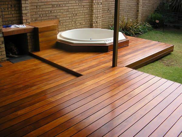 Featured. Brown Wooden Decks for Indoor and Outdoor Design: Appealing Wooden Decks Design Ideas In Indoor Featured With Bathtub ~ wegli
