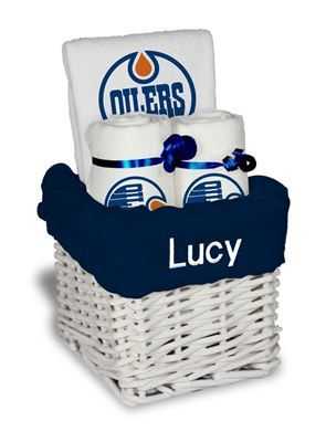 9 best edmonton oilers baby gifts images on pinterest baby gifts our personalized edmonton oilers small gift basket is a perfect hockey baby gift with 2 burp negle Image collections