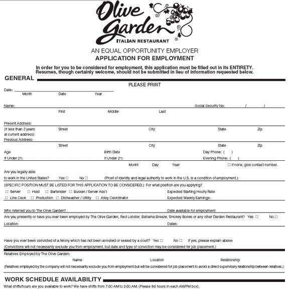 35 best images about job application forms on pinterest for Olive garden application online