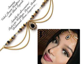 Black and gold head piece , head wear , hair jewelry , arabic hijab jewels , chain hair accessories , matha patti , indian bridal jhoomer