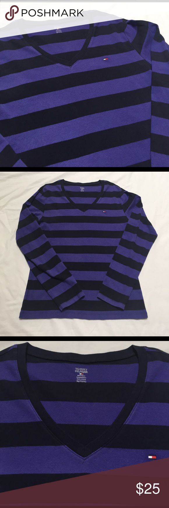 "Tommy Hilfiger knit sweater/tshirt Purple and navy striped long sleeve shirt. Nicer than a tshirt. Not as heavy as a sweater. Super soft. Excellent condition. 20"" at the chest. 25"" length from base of collar Tommy Hilfiger Tops Tees - Long Sleeve"