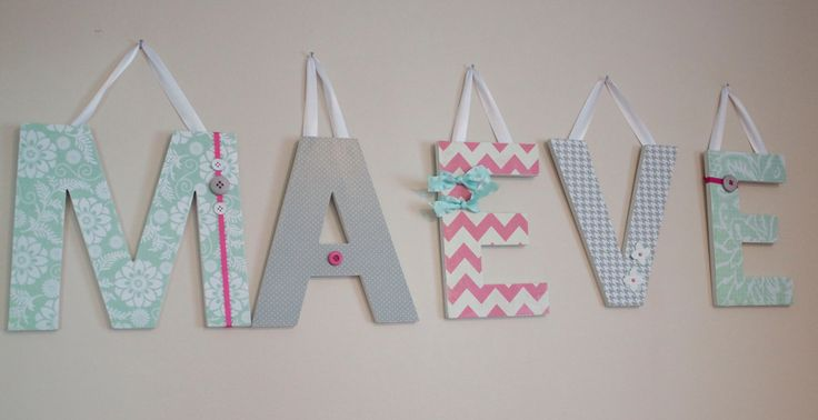 Custom nursery letters modern mint theme hanging wall for Wall letters kids room