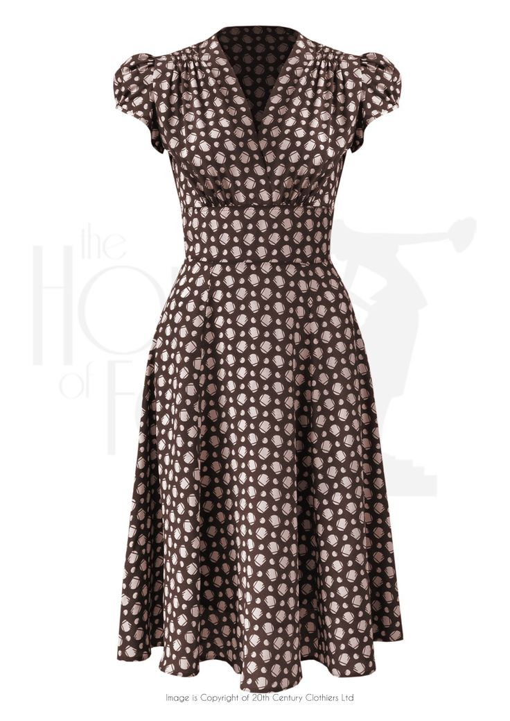 1930s 40s Ava Tea Dress in Walnut Deco Dot