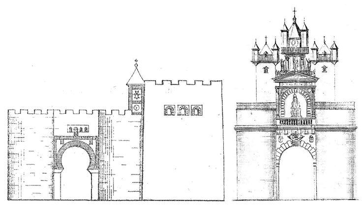 Puerta de Guadalajara. Estaba en lo que hoy es la Calle Mayor a la altura aprox. de la plaza de Comandante las Morenas. A la Izquierda la Puerta Vieja, perteneciente al 2º recinto. Demolida en 1538. A la derecha la Puerta Nueva, levantada conde la vieja. Destruida por un incendio en 1589.
