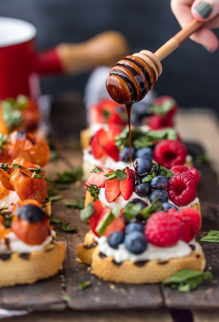 TRIPLE BERRY WHIPPED GOAT CHEESE BRUSCHETTA is beautiful and delicious! Plus a Caprese Whipped Goat Cheese Bruschetta that is everyone's favorite!