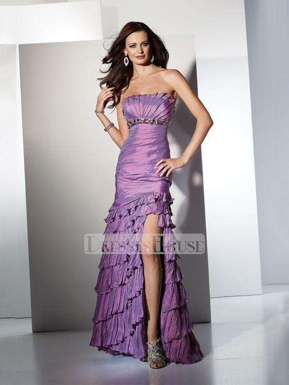 Elegant mermaid ruffled Crumb-catcher taffeta prom dress PD10404