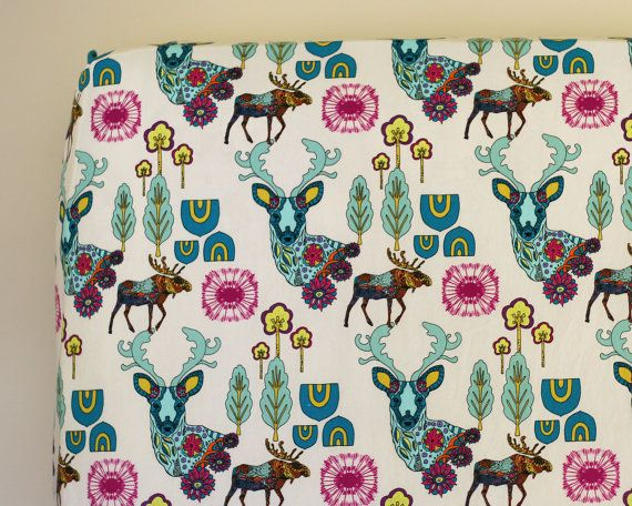 Woodland Nursery Bedding Fitted Crib Sheet or by DelvaBTree