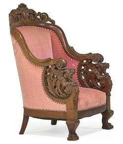 Furniture: Chair-Arm; Victorian, Renaissance Revival, Walnut, Pierced Crest, Griffin Arms, Paw Feet, Carved. Year: 	1901 - 1925