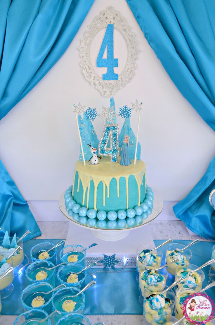 Frozen Birthday Cake with snowflake garland, chocolate shards and glitter gem candle by Little Miss Charlie's Treasures