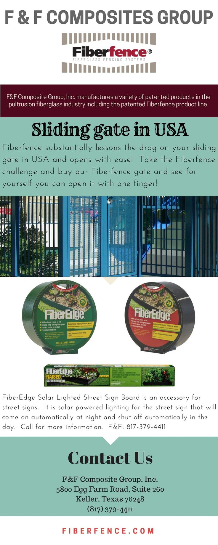 Do you get tired of trying to leave and finding that your automatic gate operator is on the blink again?  Did you know that Fiberfence could extend the life of your sliding gate opener? It can, only with Fiberfence fiberglass fencing systems that are half the weight of steel or wood.  Fiberfence substantially lessons the drag on your sliding gate in USA and opens with ease!