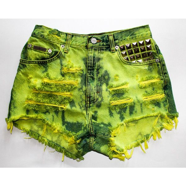 neon green splatter Calvin Klein vintage denim pyramid studs destroyed... ❤ liked on Polyvore featuring shorts, bottoms, high rise shorts, ripped denim shorts, torn shorts, neon green shorts and denim shorts