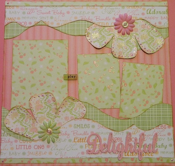 Delightful - 12x12 Premade 2 Page Scrapbook Layout. $15.95, via Etsy.