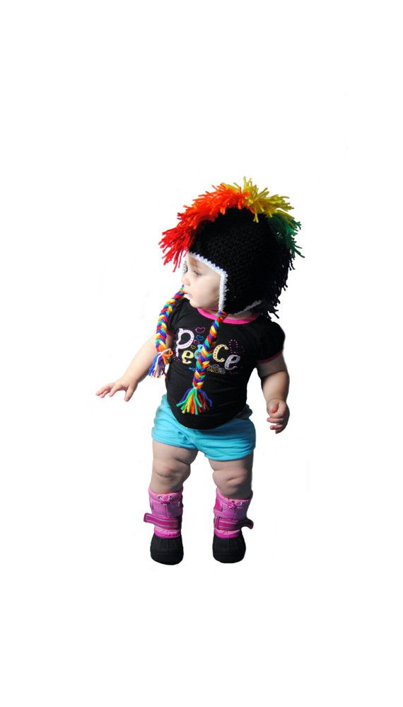 Hey, I found this really awesome Etsy listing at https://www.etsy.com/listing/188053894/rainbow-mohawk-crochet-hat-punk-rock