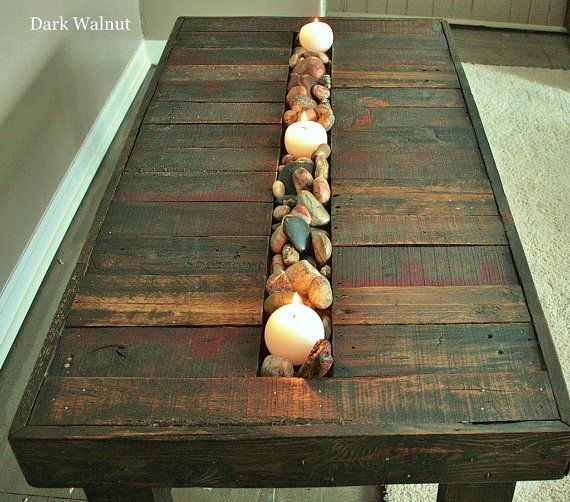 Pallet Wood Coffee Table with Trough by UpcycledWoodworks on Etsy, $200.00