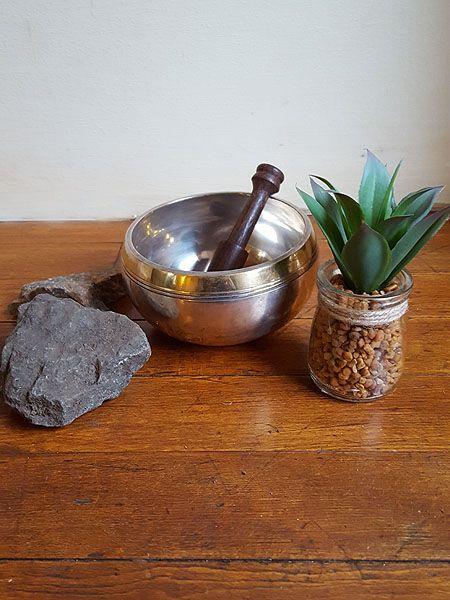 Silver Tibetan singing bowl with auspicious symbols #himalayanhandmades