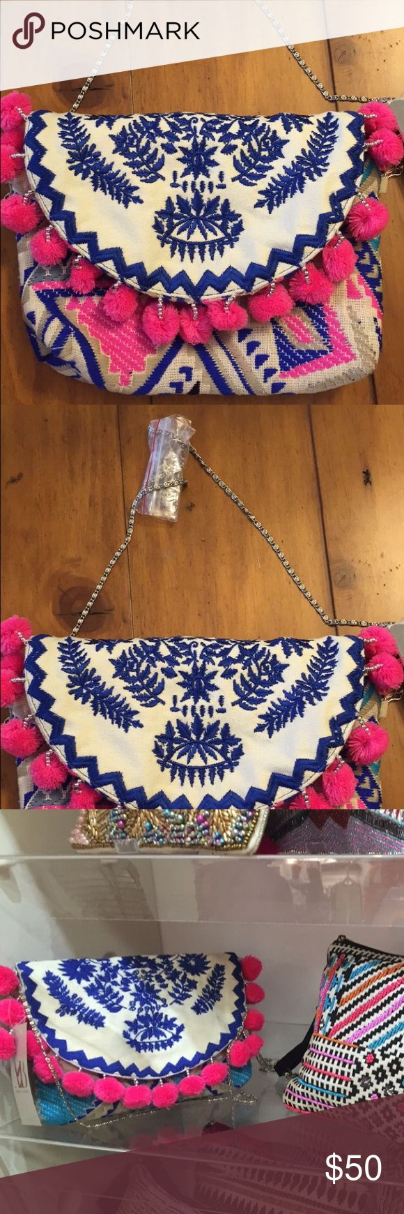 NWT Pom Pom clutch New with tags pom Pom clutch from my boutique Bags Clutches & Wristlets