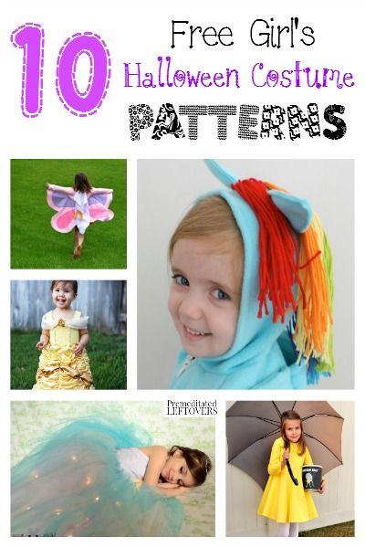 10 Free Halloween Costume Patterns for Girls - Making a homemade costume is so much fun! Here are 10 free girl's Halloween costume patterns to inspire you!