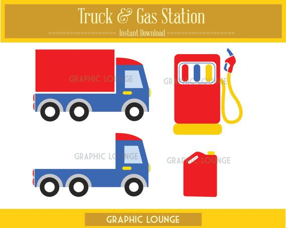 Truck & Gas Station clipart, vector